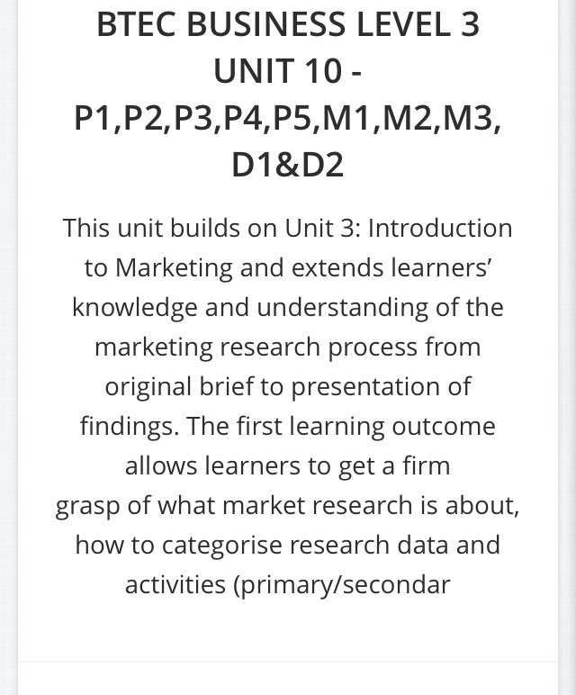 btec level 3 business unit12 p1 p2 Unit 3: p1, p2, p3, p4 & p5  it is information that is collected within the business the department within the business will produce information, to help the .