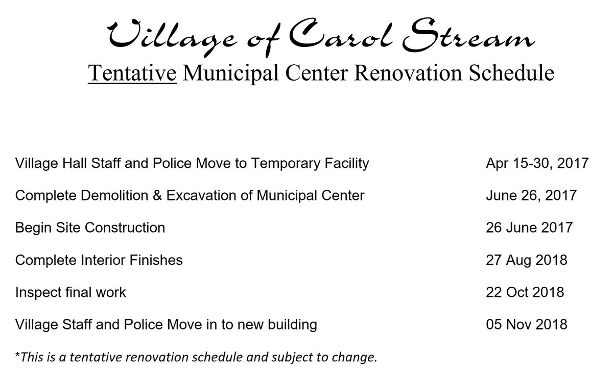 Vil Of Carol Stream On Twitter The Village Board Approved