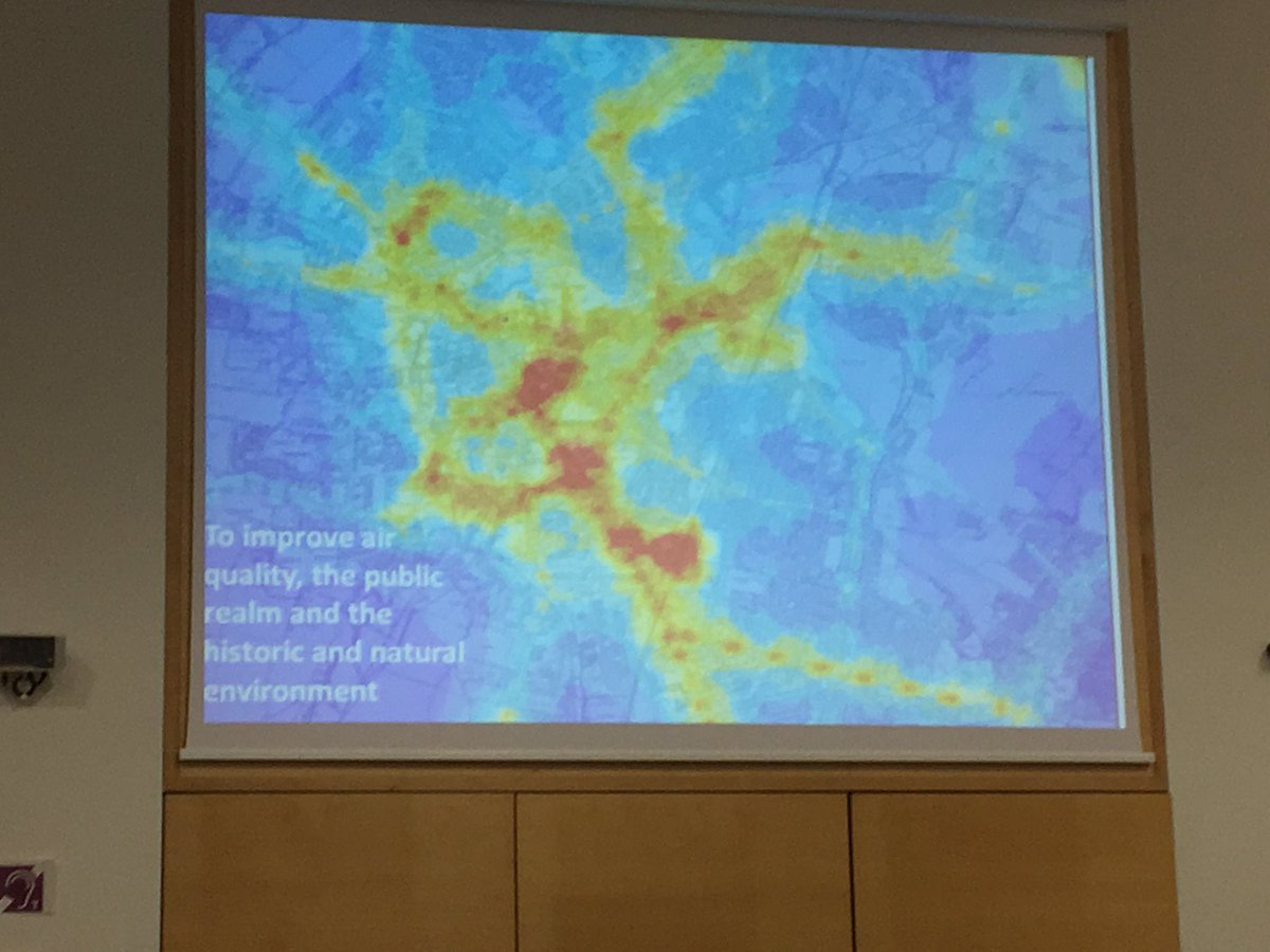 Air quality map of Cambridge presented at @gccitydeal board #live - red is bad https://t.co/FzHgEKK1Av