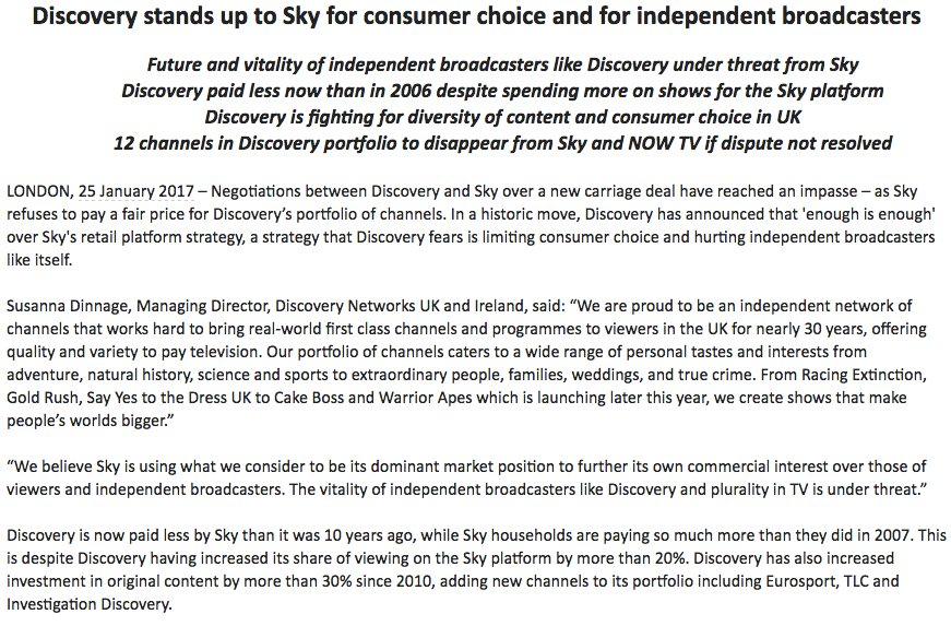 Wow. Discovery will pull all channels from Sky and Now TV if it can't reach new carriage deal with Sky https://t.co/1cqTGjbKgH
