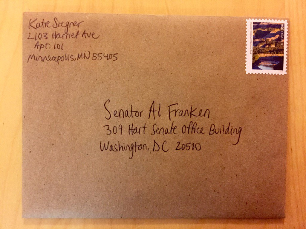 Action #1: check. Personal letter to @SenFranken w/ a @NatlParkService stamp #whyIMarch #100daysofaction https://t.co/yTGbjo19ZP
