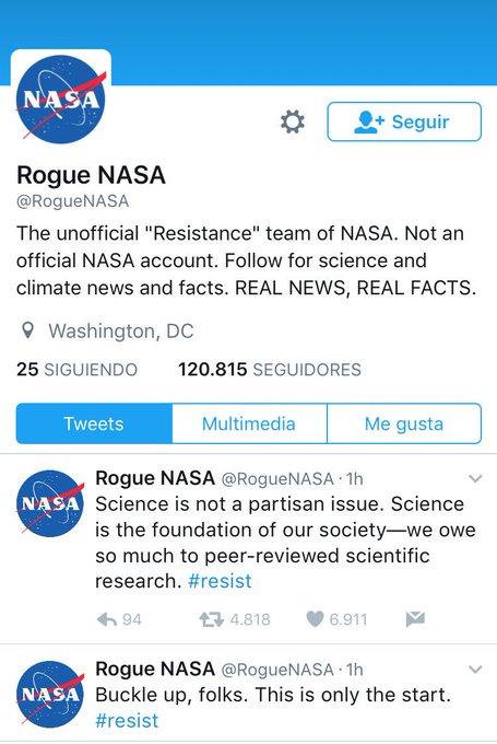 Agencias de investigación científica de EEUU crean cuentas paralelas para contrarrestar censura del gobierno de Trump ¡Maravilloso! #Resist