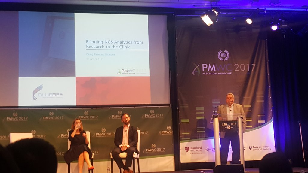 Craig P. introduces the @BluebeeGenomics Platform to the #PMWC17 audience #ngs #clinical https://t.co/QpA1xY2eUU