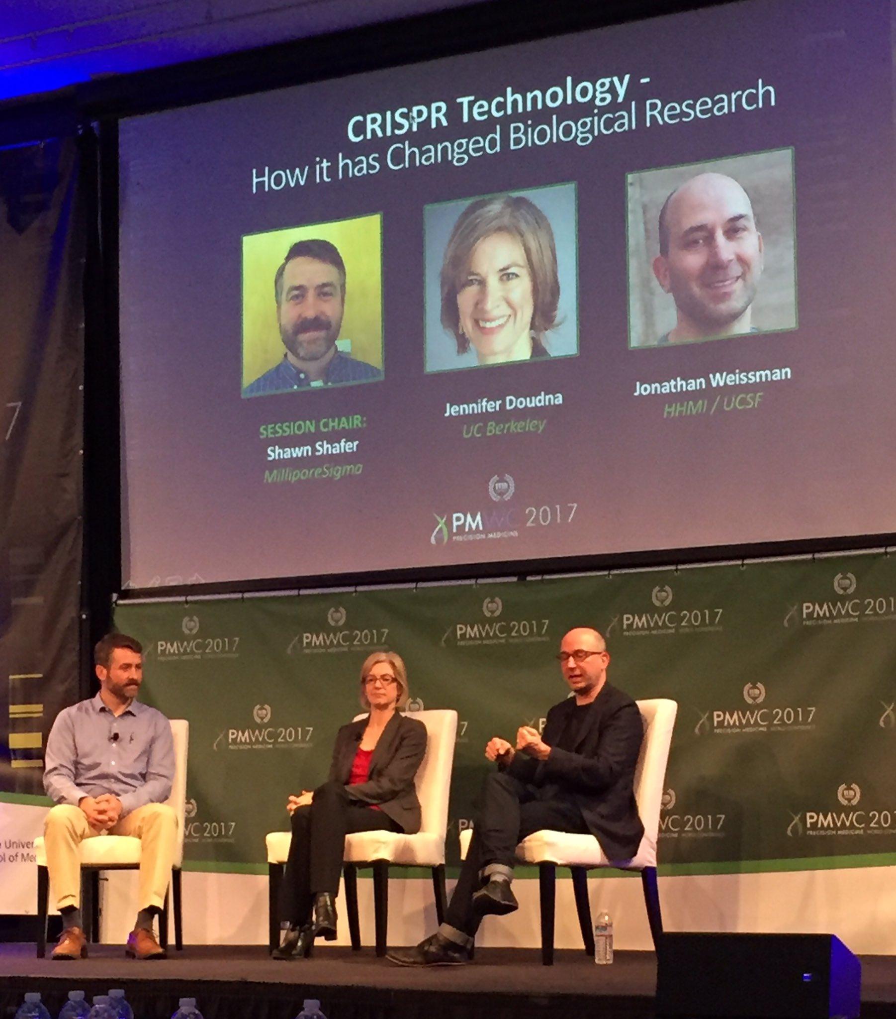 "Great discussion ""off-target effects of #CRISPR"" #PMWC17 talks Jennifer Doudna @UCBerkeley, Jon Weissman @UCSF, Shawn Shafer @SigmaAldrich https://t.co/wbEMePnrKL"