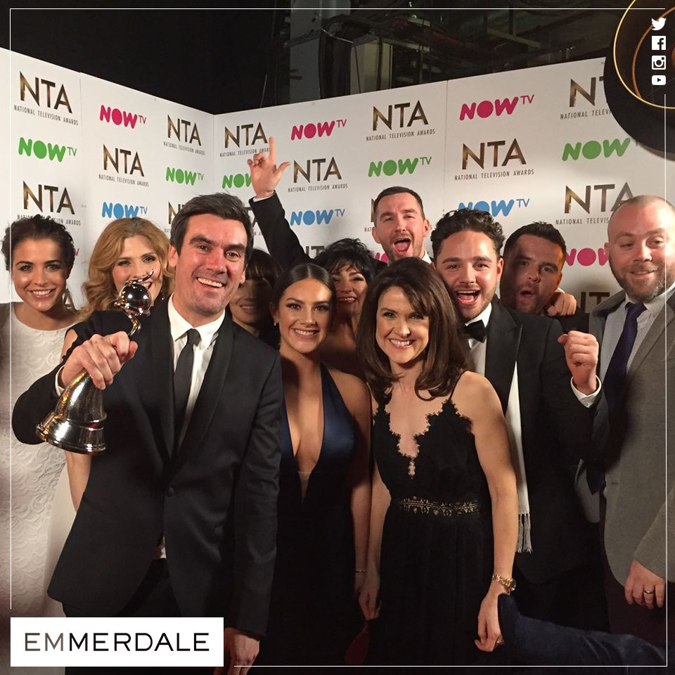 And now the celebrations begin! #NTAs #LoveOurFans #Emmerdale @OfficialNTAs
