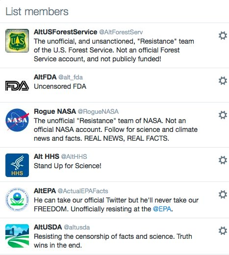 There are now at least 14 'rogue' Twitter accounts from federal science agencies: https://t.co/WOq4Hc5yd1