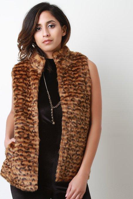 Faux Fur Leopard Mock Neck Vest