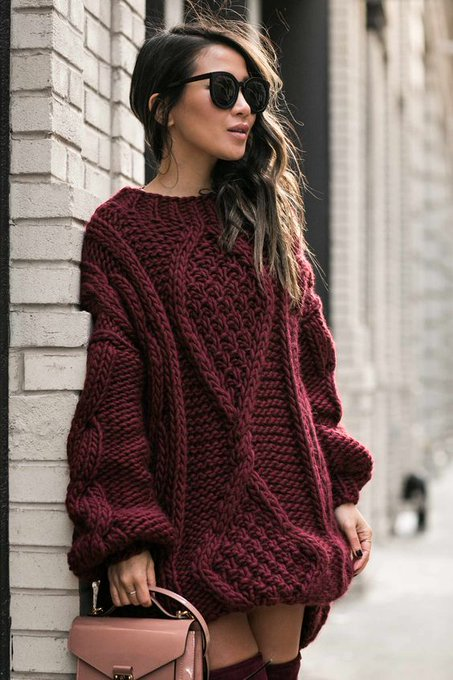Burgundy Puff :: Chunky knits & Burgundy boots : Wendy's Lookbook