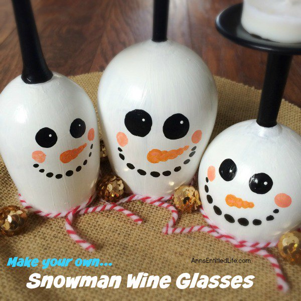 DIY Wine Glass Snowman