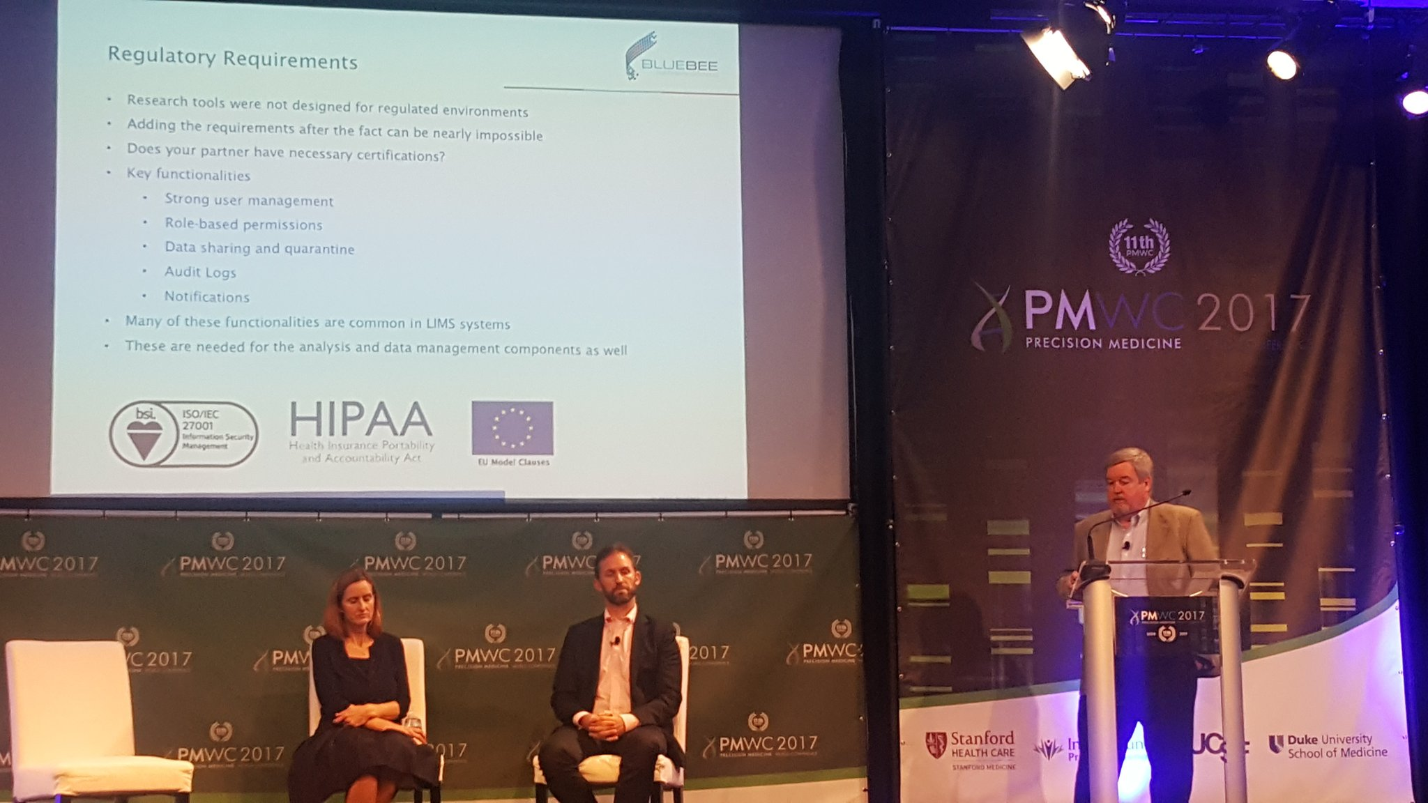 #PMWC17 C.Parman discusses regulatory requirements supported w/ @BluebeeGenomics #precisionmedicine https://t.co/f2JxRss2oe