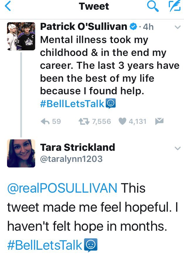 A perfect example of why talking is important and proof that it helps. Even between strangers. #BellLetsTalk https://t.co/cZuNI1JIkC