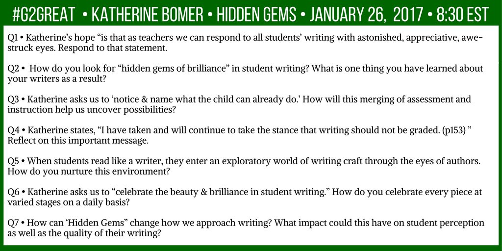 Getting ready to welcome @KatherineBomer on #G2Great Here are our questions: https://t.co/uX8c0mzVTK