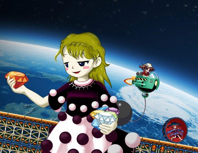 Doremy holding the Chaos Emeralds. #doremysweetholdingthings #touhou #doremysweet #nitorikawashiro #sukunashinmyoumaru