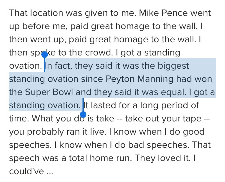 President Trump on his remarks at the CIA, via the @ABC transcript