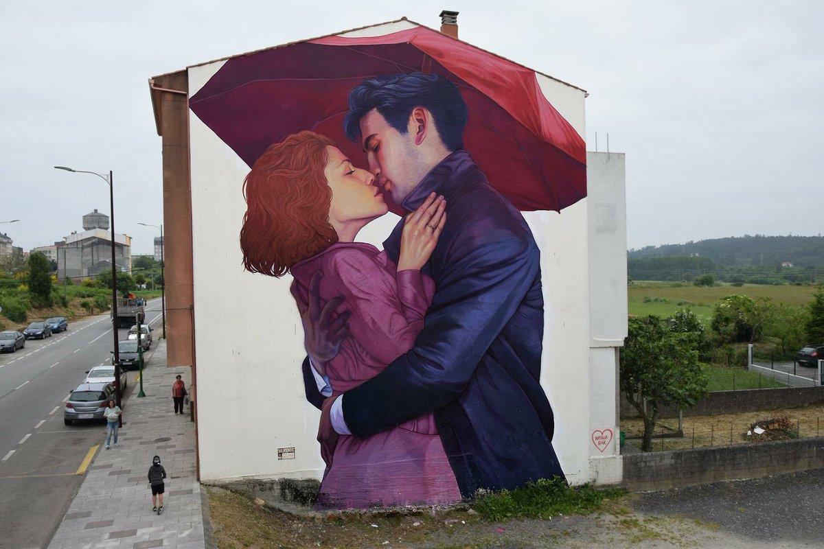 'I missed you' Street Art by Natalia Rak found in Carballo Spain 🇪🇸   #art #arte #mural