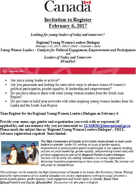 Canada in sri lanka on twitter calling lka youth leaders working invitation to register for feb 6 young women leaders dialogue femparl workshops led by leading canadian csos equalvoiceca equitasintlpicitter stopboris Choice Image