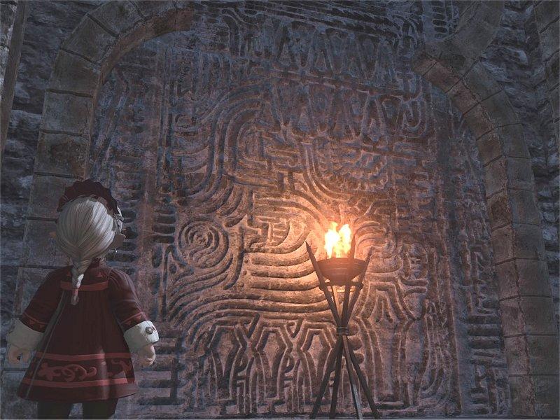 ダン・スカーの多くの建物に施された壁面彫刻パターンが、ただの凹凸ではなく、マハ興亡の歴史を象っていることに気づきました。