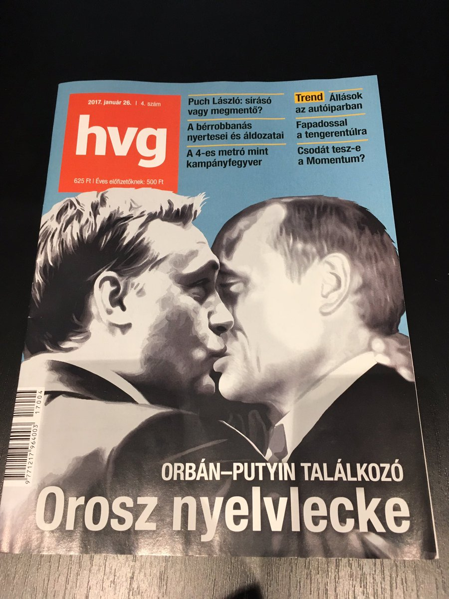 Front page of prominent hungarian weekly hvg featuring Putin and Orban