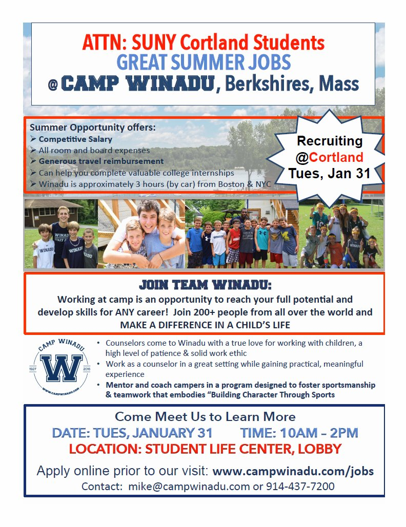 Camp Winadu will be here on Tuesday, 1/31 from 10-2 in the Student Life  Center! Check out their website to learn more & apply!