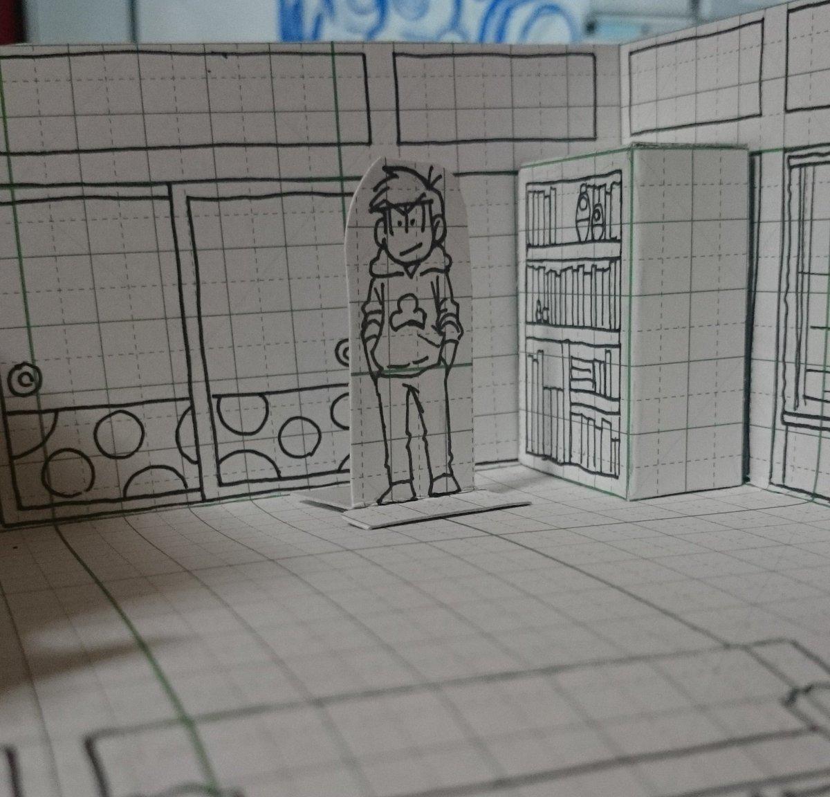 松野家の室内のパースがどうにも描けない、それなら作ればいいじゃない!と…方眼紙で。あれこれはしょった…