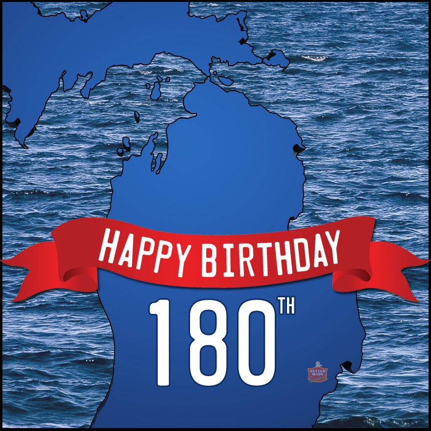 180 years ago today, Michigan became the 26th State to enter the union.Happy Birthday! https://t.co/4L5mzfB4To