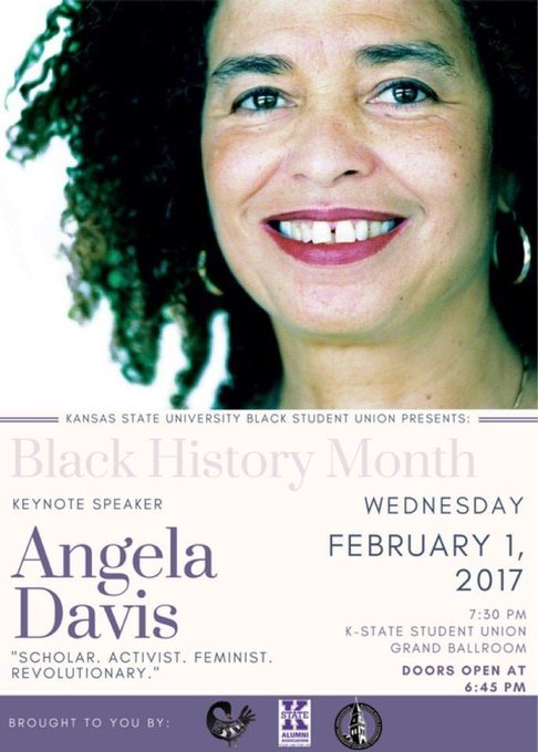 Happy Birthday to Angela Davis who turns 73 today! We are counting down the days until her K-State visit!!