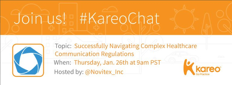 Welcome to #KareoChat with your host, @Novitex_Inc! Ready to talk #Healthcare #Communications? We'll discuss: https://t.co/ln806Rx0Zp https://t.co/qAwcRKMmLQ
