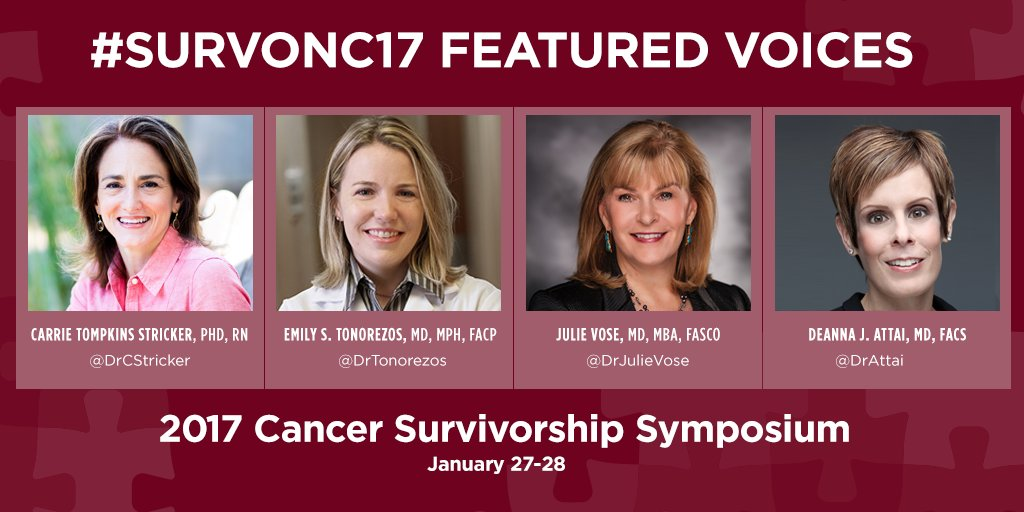 The Cancer Survivorship Symposium starts Friday 1/26/2017! Follow #SurvOnc17 and our Featured Voices for live updates - http://bit.ly/2jer3oT