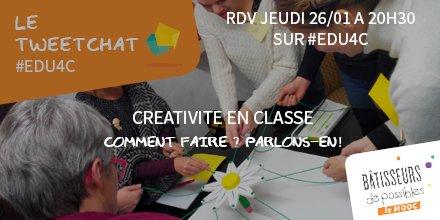 On commence dans 30 min le tweetchat #Edu4C sur la #créativité ! On espère que le sujet vous inspire 😀 https://t.co/fnMybRwd1V