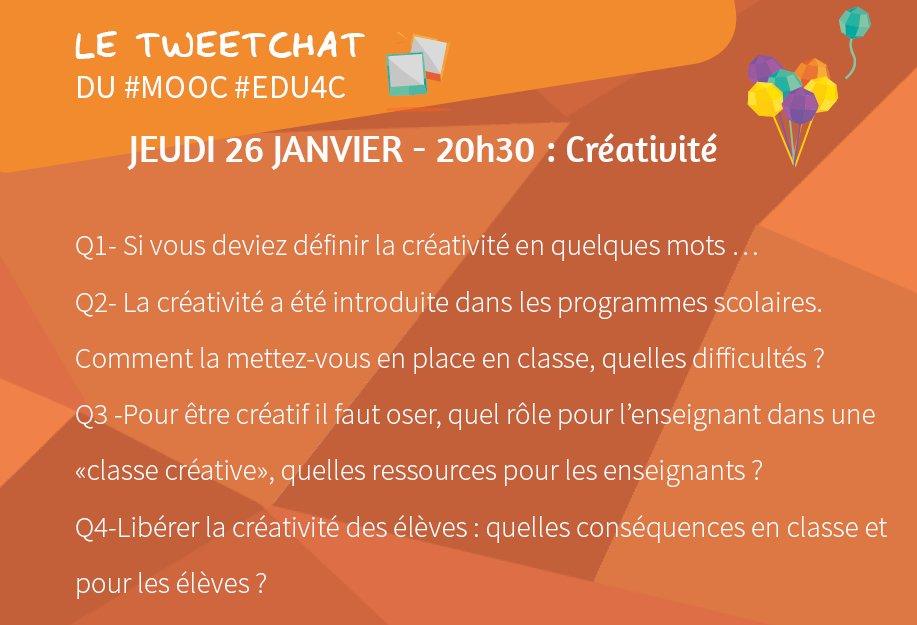 Voici la liste des sujets qui seront abordés dans le tweetchat #edu4C spécial  #creativite. On commence à 20h30 ⭐️ https://t.co/gDz2UyB0og