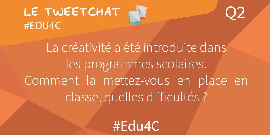 💡[rappel]Q2 La créativité a été introduite ds les pgm scolaires. Comment la mettez-vous en place en classe, quelles difficultés ? #Edu4c https://t.co/RoZIfs4Nfk