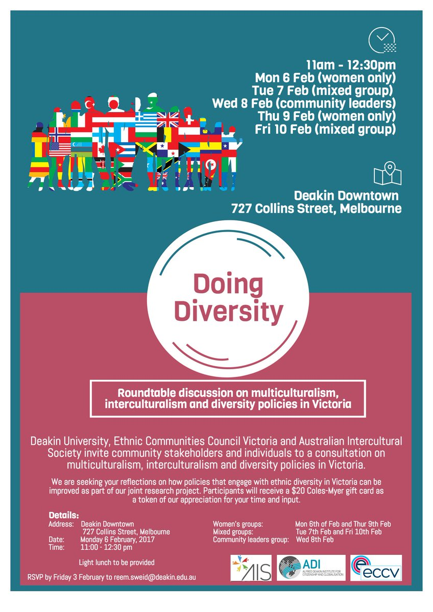 Round table discussion flyer - Eccv On Twitter Eccv Deakin Uni And Ais Invite Community Stakeholders And Individuals To A Roundtable On Multiculturalism Details Rsvp By Feb 3 Below