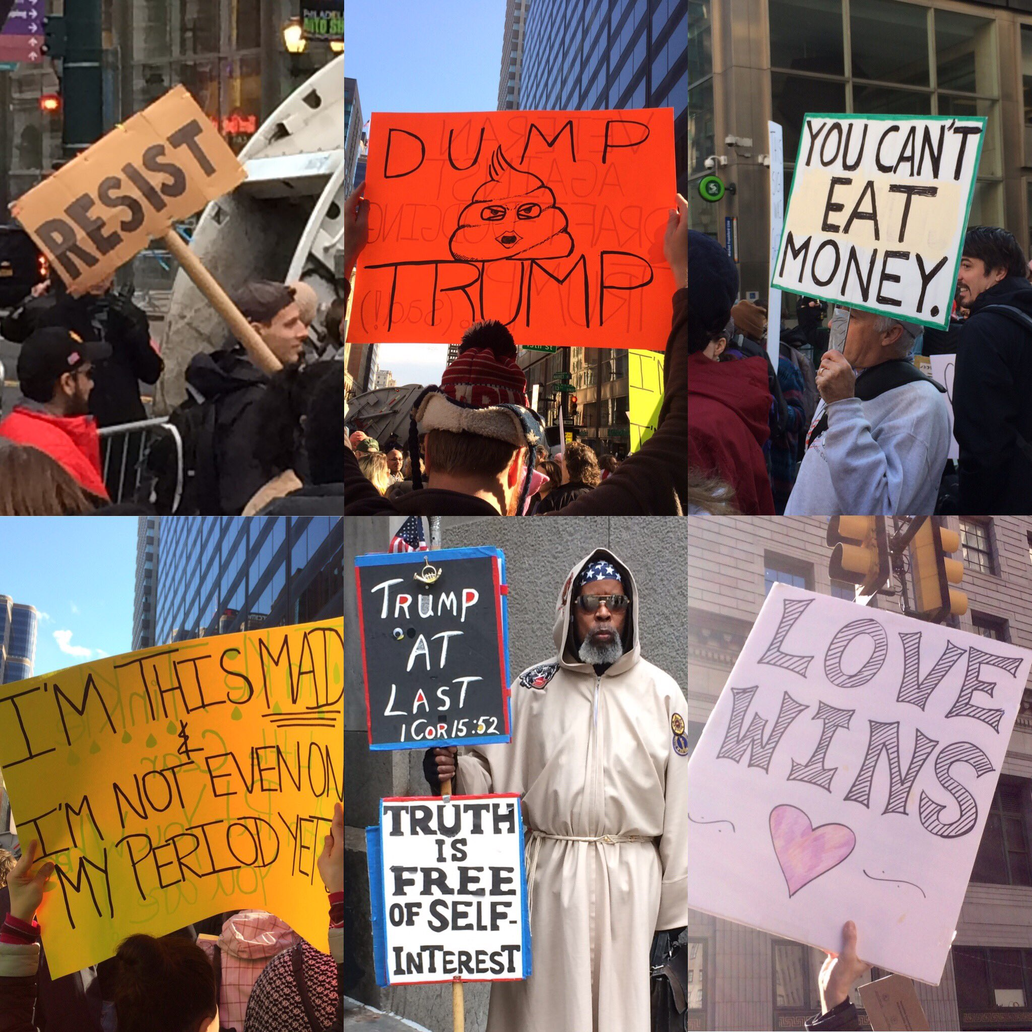 A few of the signs seen today outside #GOPretreat during @POTUS visit to #Philly #Trump #demonstrators https://t.co/VR6O0Vkoes