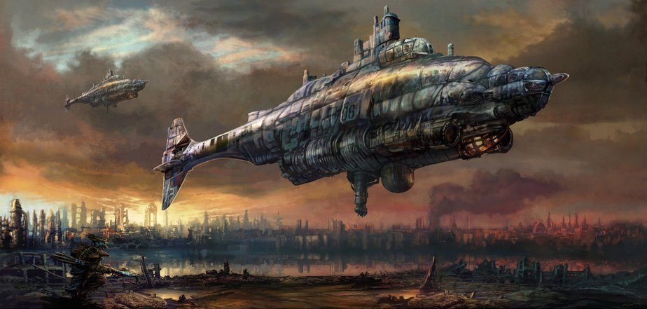 #Illustration Awesome of the Day: #Steampunk #Airship #Artwork by British Artist Tony Jennison v/ @mythania #SamaArt