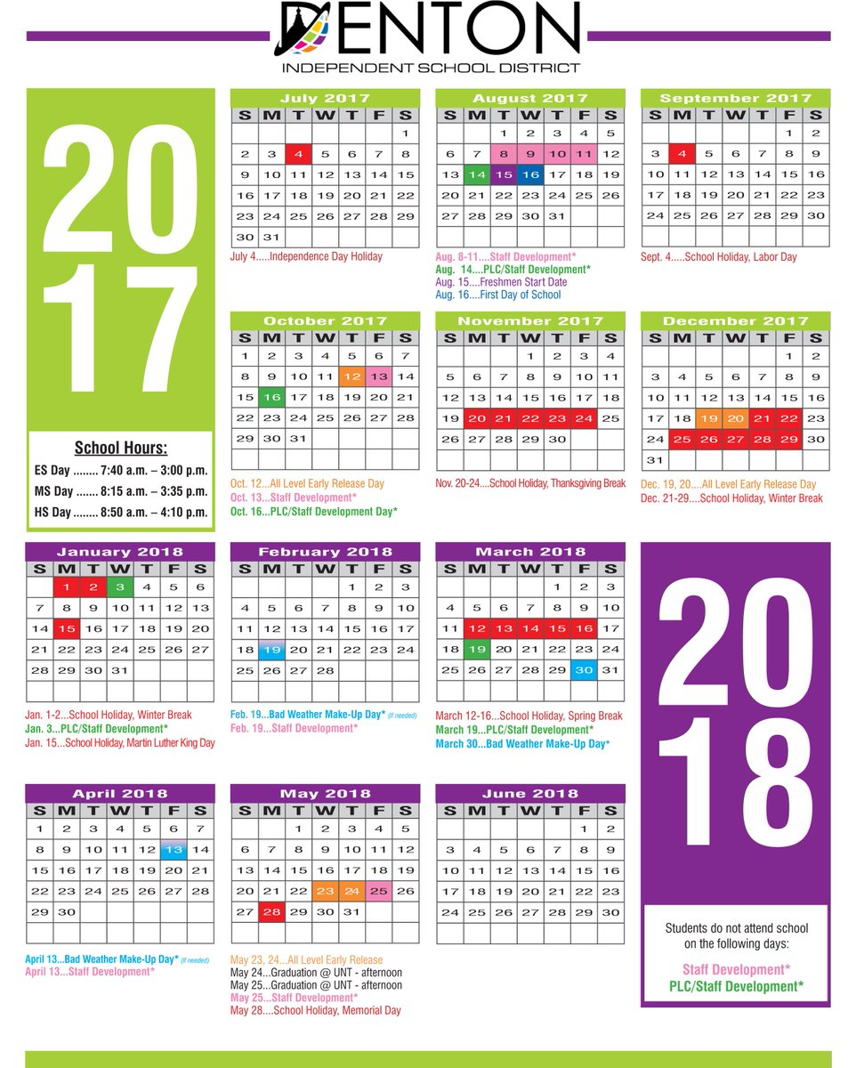 Denton Isd On Twitter The 2017 18 School Calendar Is Out Let