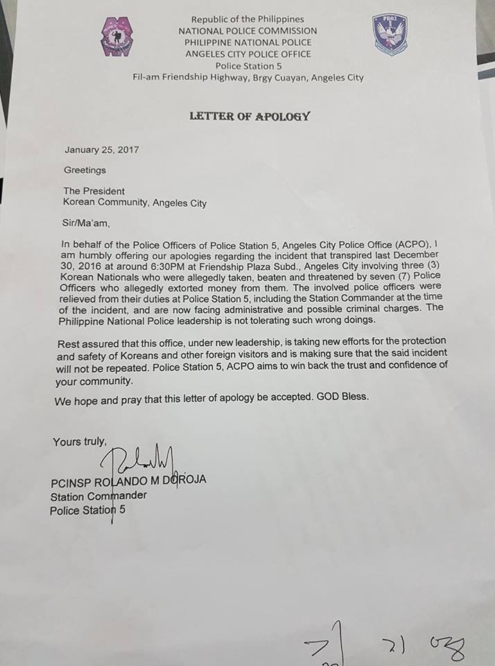 Look angeles city police office releases a letter of apology