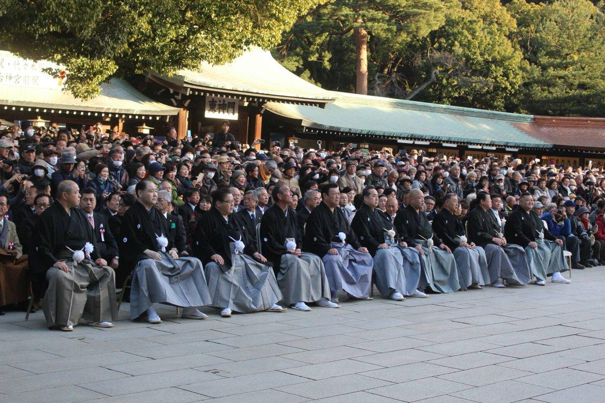 <奉納土俵入り>奉納土俵入りに参列する、協会役員と田子ノ浦親方。 #sumo