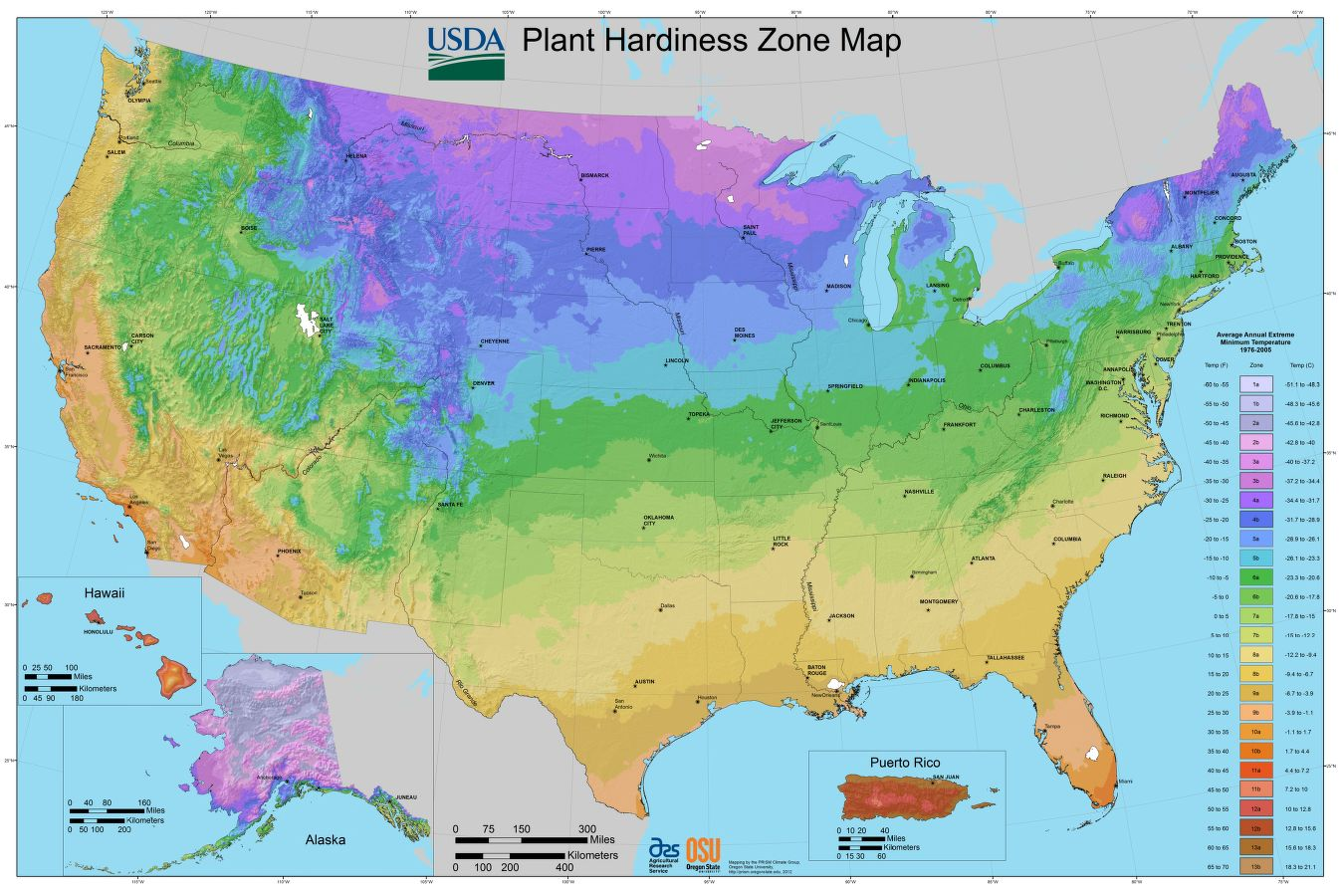 This colorful #map shows the zones of plant hardiness within the #USA!  https://t.co/aXU4MyDv5H https://t.co/V8zcsKTZXv