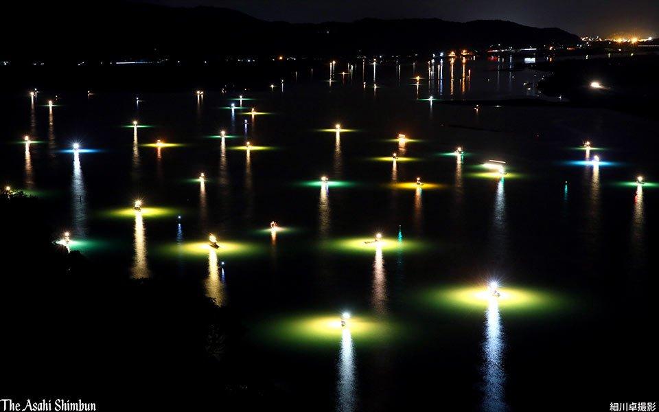 高知県四万十市の四万十川河口で、冬の風物詩シラスウナギ漁が本格化しています。真っ暗な水面に緑、黄、青…