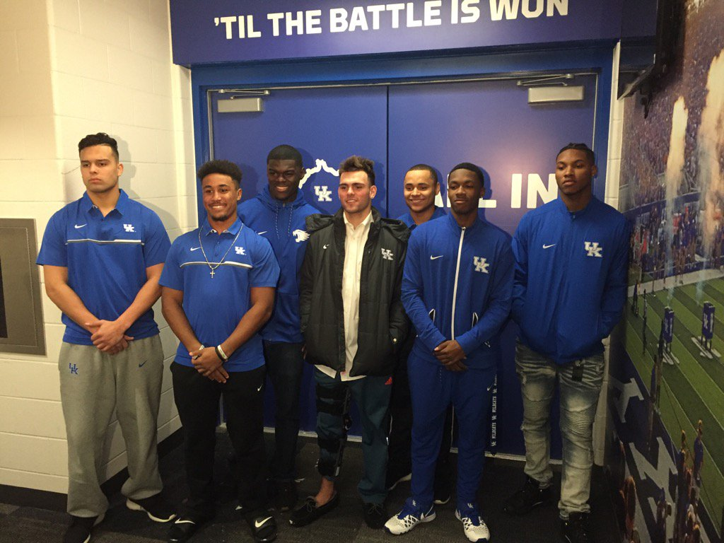 (L to R) Danny Clark, Clevan Thomas, Jamin Davis, Walker Wood, Bryant Koback, Cedrick Dort and Lonnie Johnson.