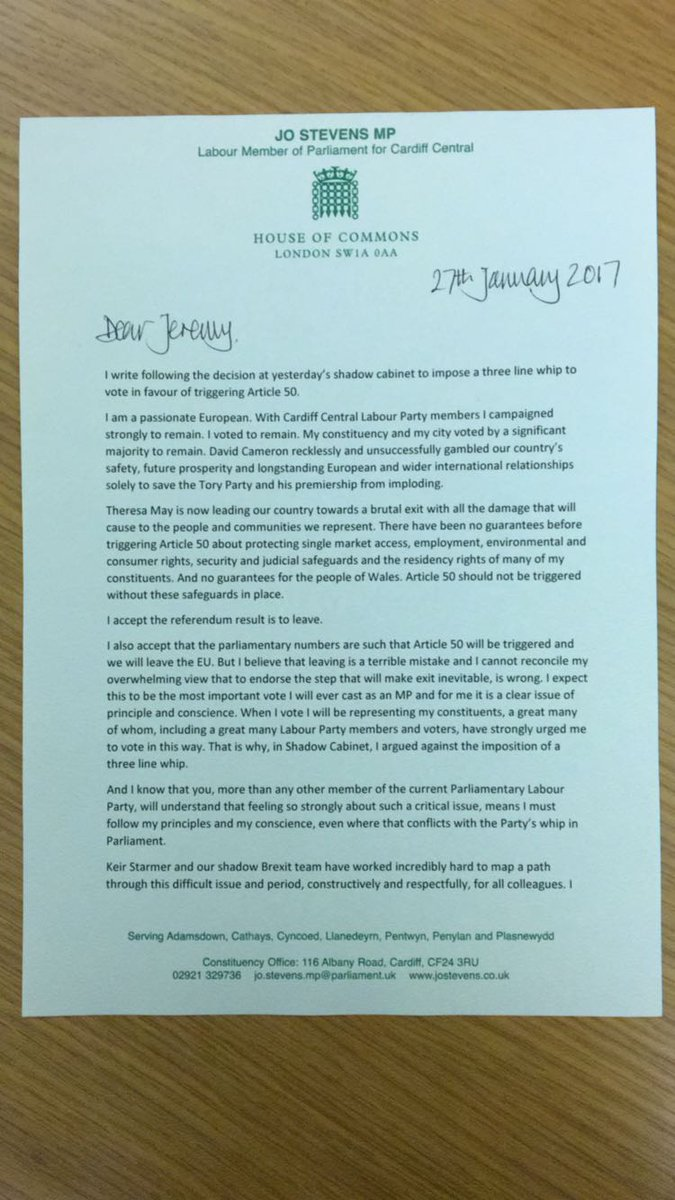 I have resigned from Shadow Cabinet today