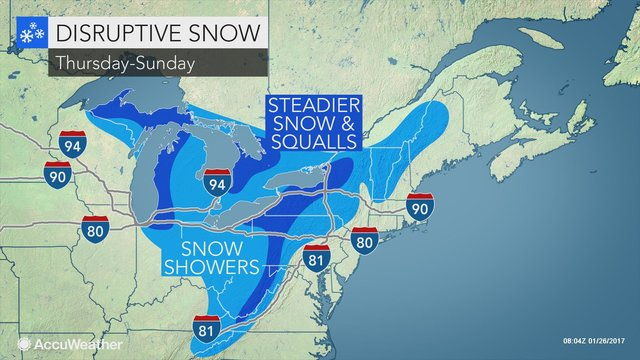 Lake-effect snow to bury the Great Lakes into this weekend https://t.co/RdLZXIMYKg https://t.co/dEm6lOeWu4