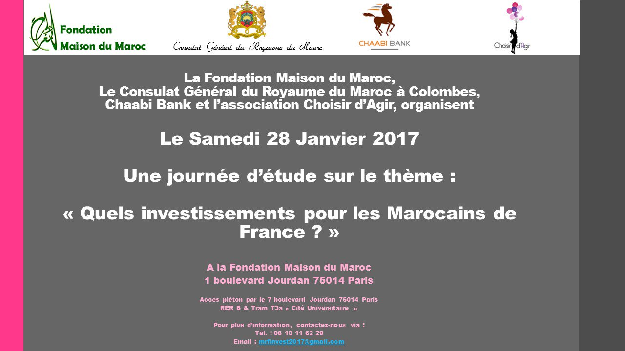maison du maroc on twitter conference maroc investissements investiraumaroc. Black Bedroom Furniture Sets. Home Design Ideas