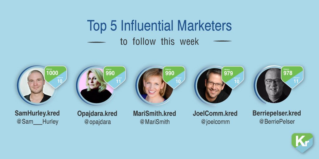 5 #Influential #marketers who top the chart this week - who's your favorite? https://t.co/1GkIhGweXs