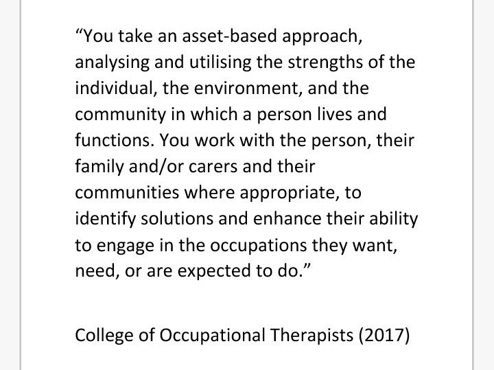 A lot of the key themes from #nwdemnetwork @NWDemNetwork @DementiaVoices today are encapsulated by @BAOTCOT  in this quote re OT https://t.co/sqf7mggFhT