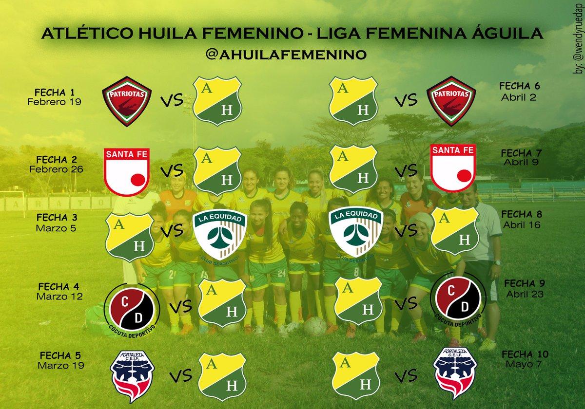 Calendario Liga Femenina.Atletico Huila Fem On Twitter Este Es El Calendario Para