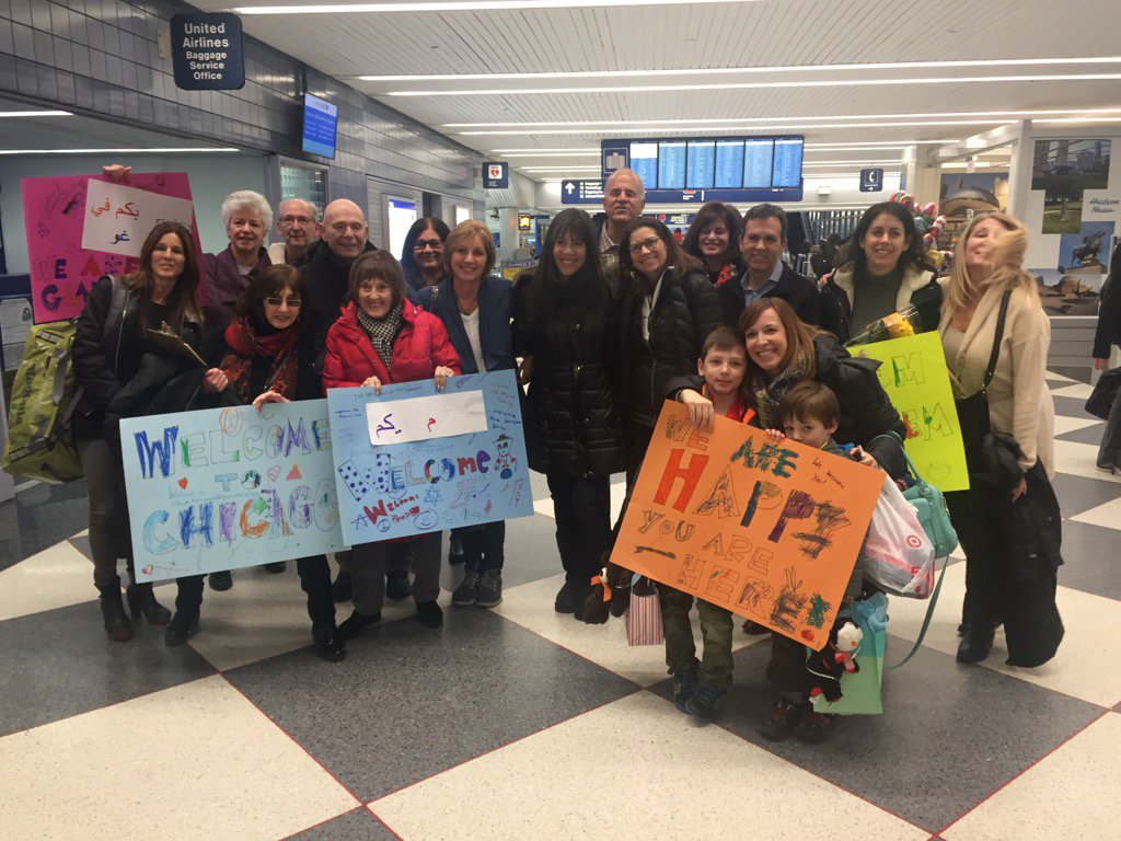 I'm at O'Hare with volunteers waiting for one of the last Syrian families to arrive before Trump signs the orders. https://t.co/QStUy20xN1