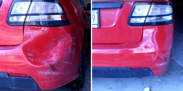 Saab DIY – How to Fix a Dent in the Bumper using a Hair Dryer