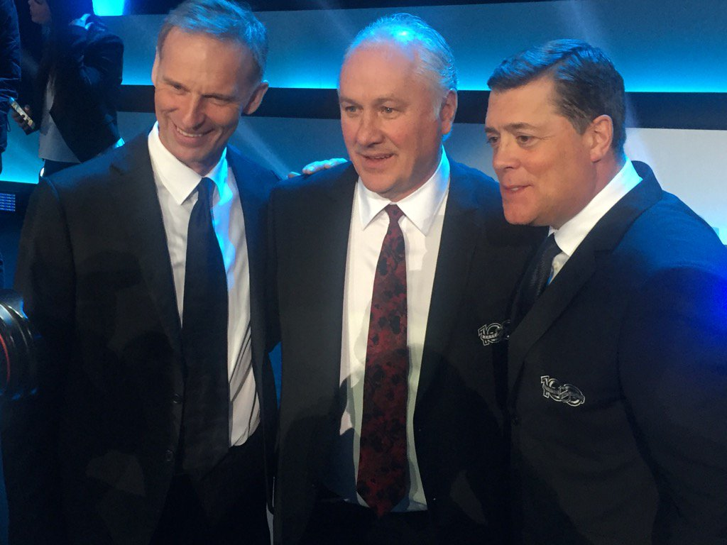 A picture for #Sabres fans for all time: Hasek, Perreault, LaFontaine. #nhl100