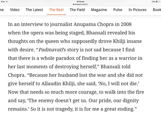 In 2008 , this is what SLB said about how he looks at Padmavati..for those who assume what he is making without knowing the script are wrong https://t.co/ksfBGe5MW0